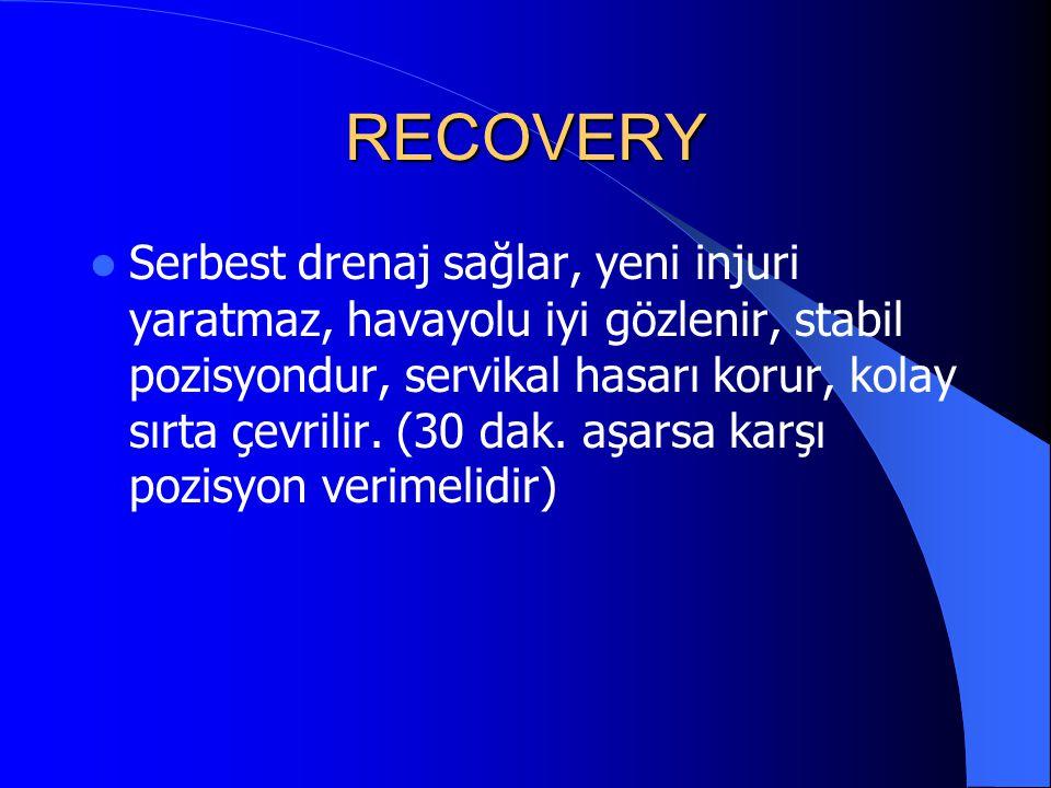 RECOVERY Serbest drenaj sağlar, yeni injuri yaratmaz, havayolu iyi gözlenir, stabil pozisyondur, servikal hasarı korur, kolay sırta çevrilir. (30 dak.