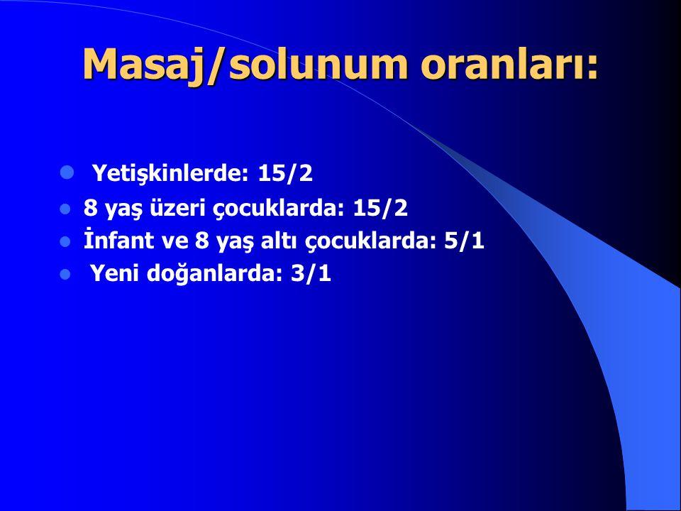 Masaj/solunum oranları: Yetişkinlerde: 15/2 8 yaş üzeri çocuklarda: 15/2 İnfant ve 8 yaş altı çocuklarda: 5/1 Yeni doğanlarda: 3/1