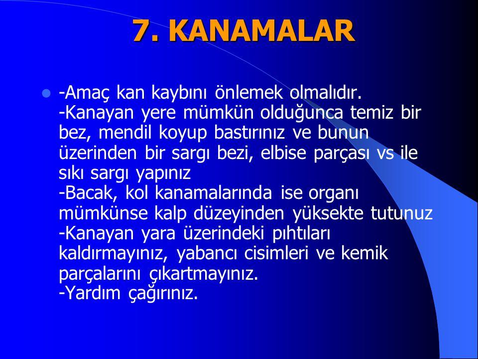 7. KANAMALAR -Amaç kan kaybını önlemek olmalıdır. -Kanayan yere mümkün olduğunca temiz bir bez, mendil koyup bastırınız ve bunun üzerinden bir sargı b