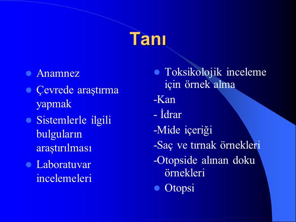 Tanı Anamnez Çevrede araştırma yapmak Sistemlerle ilgili bulguların araştırılması Laboratuvar incelemeleri Toksikolojik inceleme için örnek alma -Kan