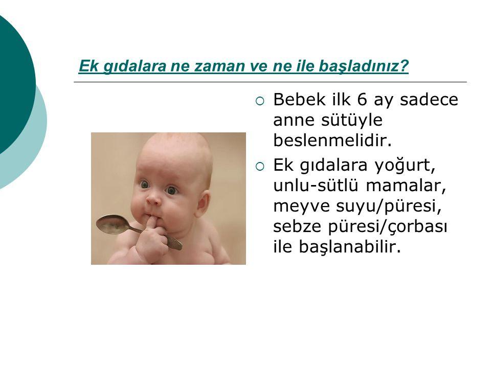 Ek gıdalara ne zaman ve ne ile başladınız?  Bebek ilk 6 ay sadece anne sütüyle beslenmelidir.  Ek gıdalara yoğurt, unlu-sütlü mamalar, meyve suyu/pü