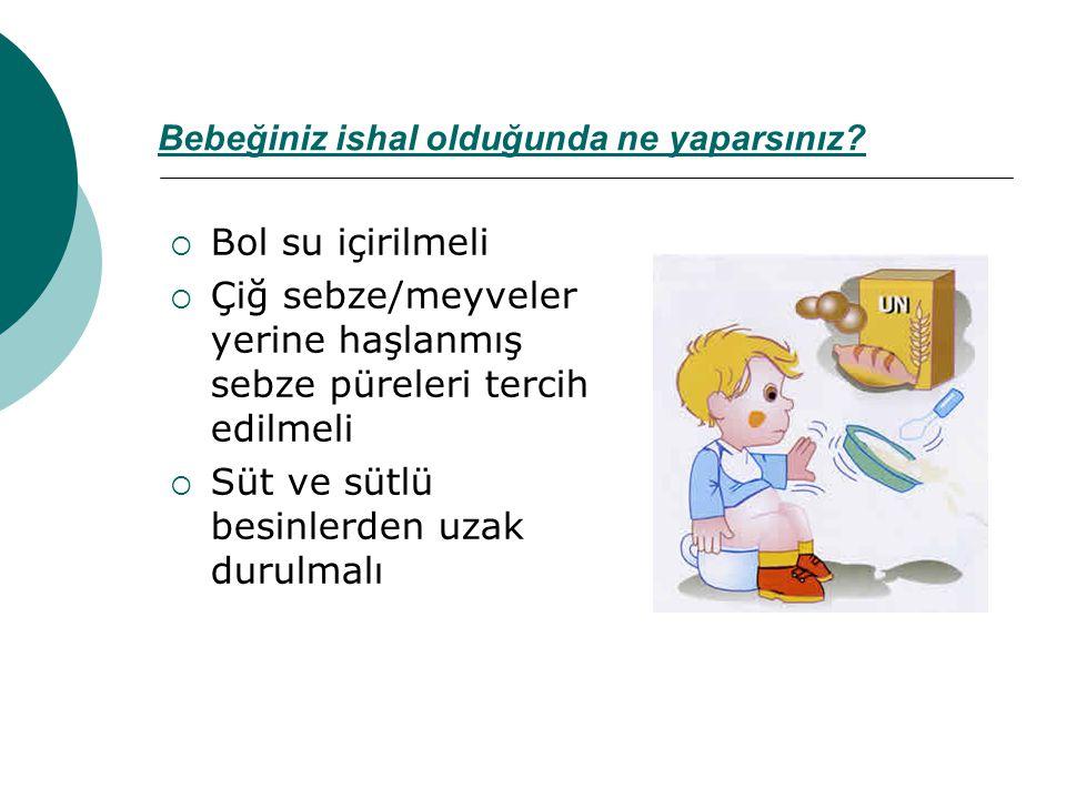 Bebeğiniz ishal olduğunda ne yaparsınız?  Bol su içirilmeli  Çiğ sebze/meyveler yerine haşlanmış sebze püreleri tercih edilmeli  Süt ve sütlü besin