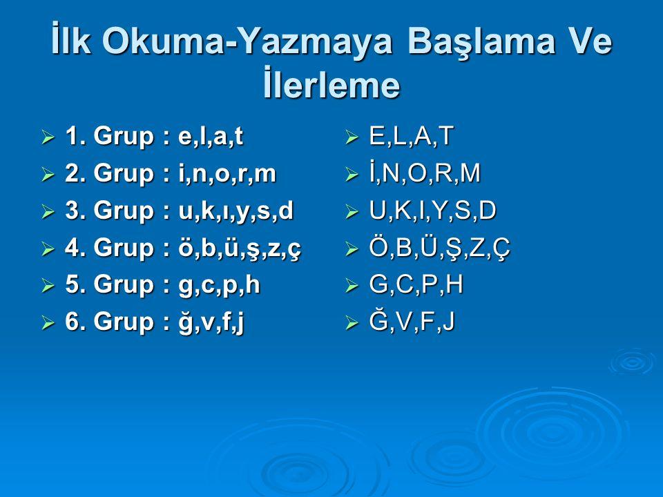 İlk Okuma-Yazmaya Başlama Ve İlerleme  1. Grup : e,l,a,t  2. Grup : i,n,o,r,m  3. Grup : u,k,ı,y,s,d  4. Grup : ö,b,ü,ş,z,ç  5. Grup : g,c,p,h 