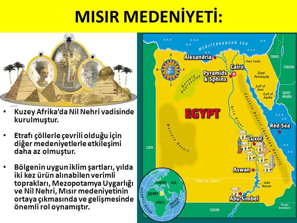 MISIR MEDENİYETİ: Kuzey Afrika'da Nil Nehri vadisinde kurulmuştur. Etrafı çöllerle çevrili olduğu için diğer medeniyetlerle etkileşimi daha az olmuştu