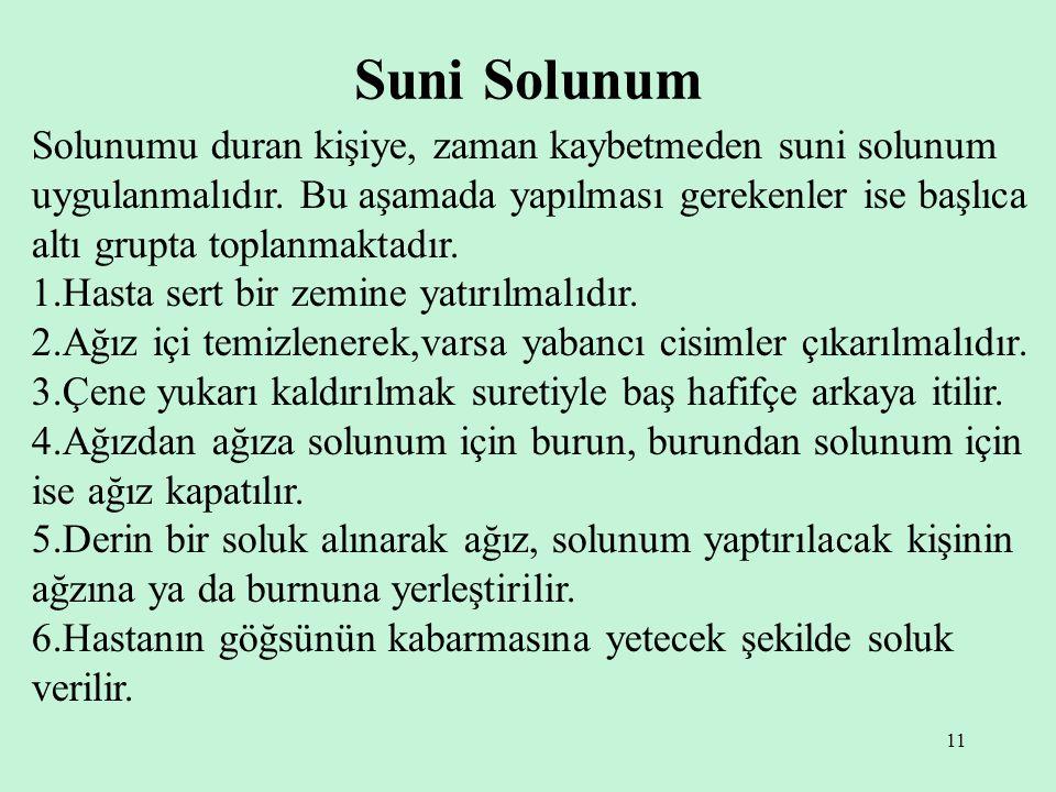 11 Suni Solunum Solunumu duran kişiye, zaman kaybetmeden suni solunum uygulanmalıdır.