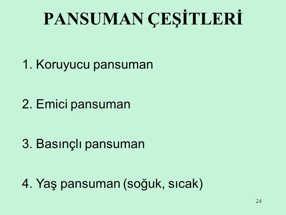 24 PANSUMAN ÇEŞİTLERİ 1.Koruyucu pansuman 2. Emici pansuman 3.