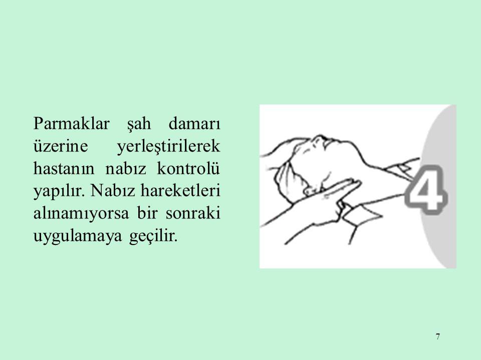 7 Parmaklar şah damarı üzerine yerleştirilerek hastanın nabız kontrolü yapılır.