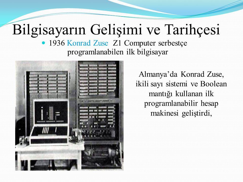 Bilgisayarın Gelişimi ve Tarihçesi 1936 Konrad Zuse Z1 Computer serbestçe programlanabilen ilk bilgisayar Almanya'da Konrad Zuse, ikili sayı sistemi ve Boolean mantığı kullanan ilk programlanabilir hesap makinesi geliştirdi,