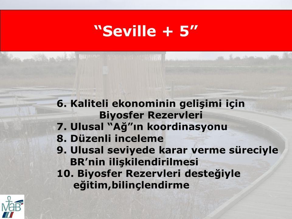Seville + 5 6.Kaliteli ekonominin gelişimi için Biyosfer Rezervleri 7.