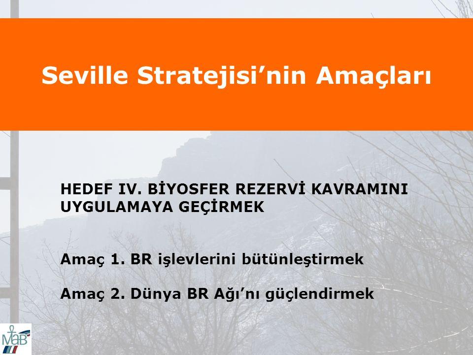 Seville Stratejisi'nin Amaçları HEDEF IV.BİYOSFER REZERVİ KAVRAMINI UYGULAMAYA GEÇİRMEK Amaç 1.