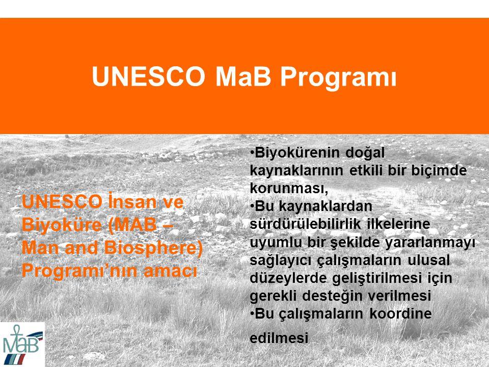 UNESCO MaB Programı UNESCO İnsan ve Biyoküre (MAB – Man and Biosphere) Programı'nın amacı Biyokürenin doğal kaynaklarının etkili bir biçimde korunması, Bu kaynaklardan sürdürülebilirlik ilkelerine uyumlu bir şekilde yararlanmayı sağlayıcı çalışmaların ulusal düzeylerde geliştirilmesi için gerekli desteğin verilmesi Bu çalışmaların koordine edilmesi