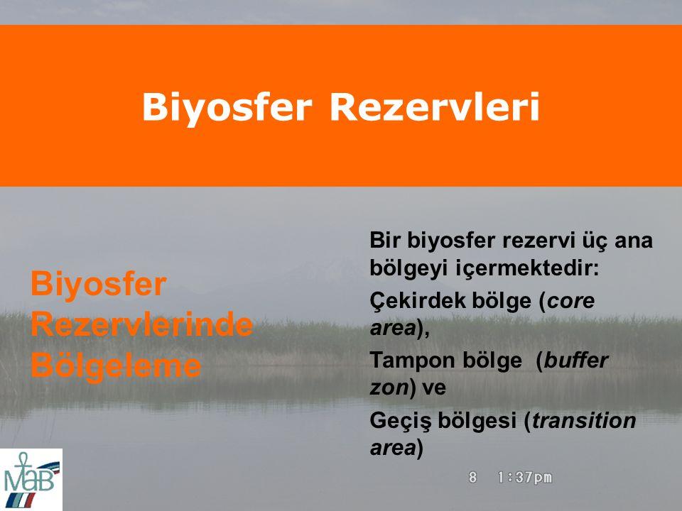 Biyosfer Rezervleri Biyosfer Rezervlerinde Bölgeleme Bir biyosfer rezervi üç ana bölgeyi içermektedir: Çekirdek bölge (core area), Tampon bölge (buffer zon) ve Geçiş bölgesi (transition area)