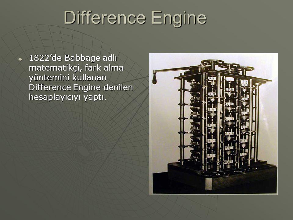 Analytical Engine  1835 de Babbage Analitik Motor adı verilen bir mekanik hesaplayıcı yaptı.