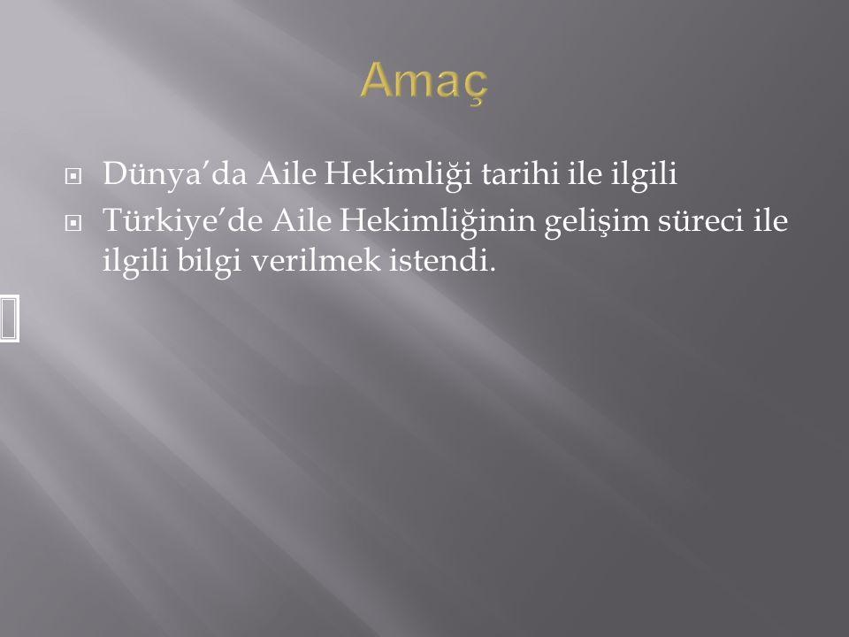  Dünya'da Aile Hekimliği tarihi ile ilgili  Türkiye'de Aile Hekimliğinin gelişim süreci ile ilgili bilgi verilmek istendi.