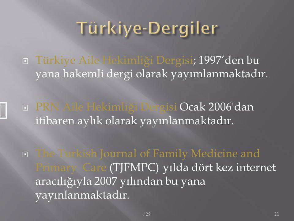  Türkiye Aile Hekimliği Dergisi; 1997'den bu yana hakemli dergi olarak yayımlanmaktadır.