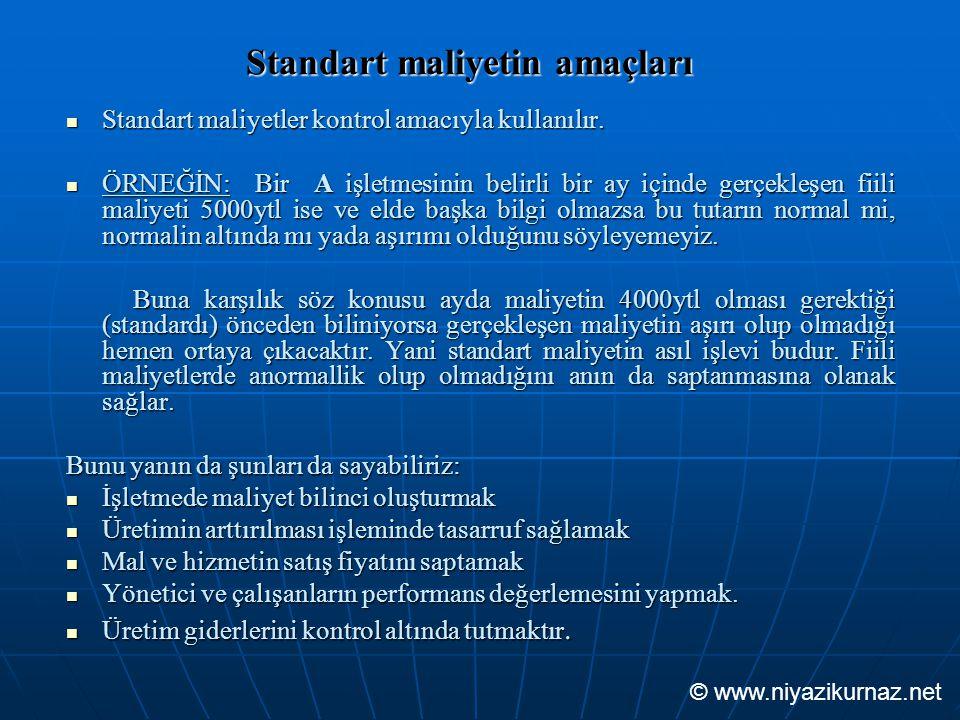 Standart maliyetin amaçları Standart maliyetler kontrol amacıyla kullanılır. Standart maliyetler kontrol amacıyla kullanılır. ÖRNEĞİN: Bir A işletmesi