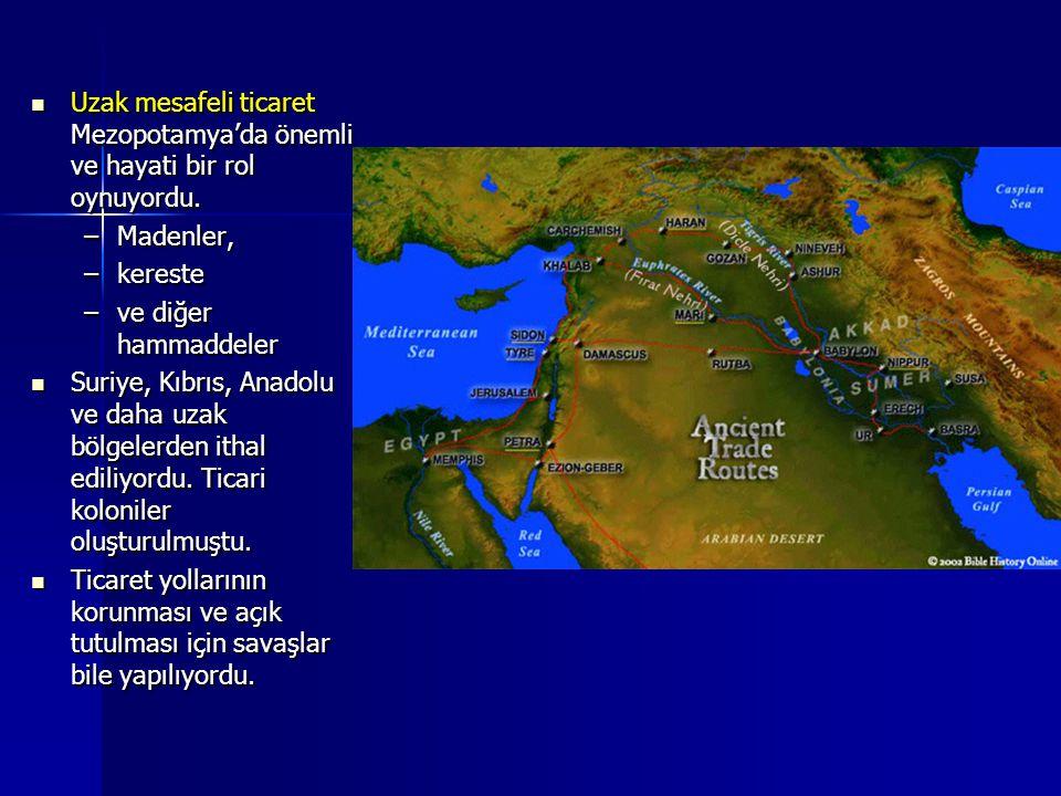 Uzak mesafeli ticaret Mezopotamya'da önemli ve hayati bir rol oynuyordu. Uzak mesafeli ticaret Mezopotamya'da önemli ve hayati bir rol oynuyordu. –Mad