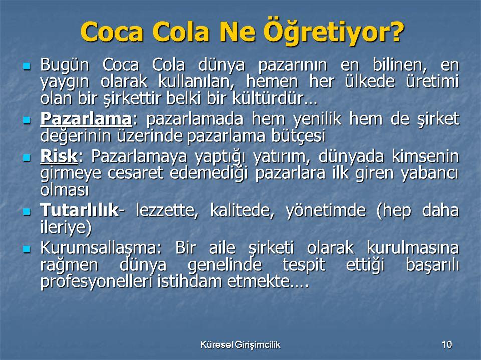 Küresel Girişimcilik10 Coca Cola Ne Öğretiyor? Bugün Coca Cola dünya pazarının en bilinen, en yaygın olarak kullanılan, hemen her ülkede üretimi olan