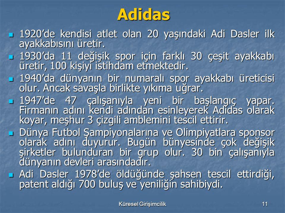 Küresel Girişimcilik11 Adidas 1920'de kendisi atlet olan 20 yaşındaki Adi Dasler ilk ayakkabısını üretir. 1920'de kendisi atlet olan 20 yaşındaki Adi