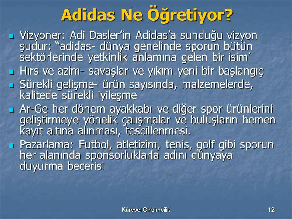 """Küresel Girişimcilik12 Adidas Ne Öğretiyor? Vizyoner: Adi Dasler'in Adidas'a sunduğu vizyon şudur: """"adidas- dünya genelinde sporun bütün sektörlerinde"""