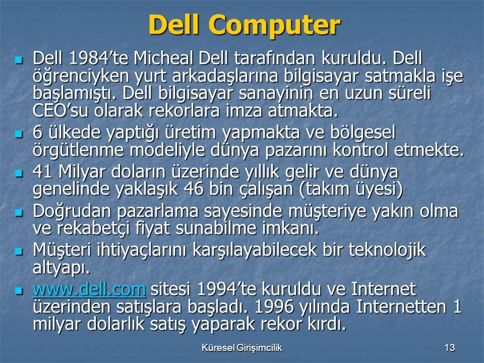 Küresel Girişimcilik13 Dell Computer Dell 1984'te Micheal Dell tarafından kuruldu. Dell öğrenciyken yurt arkadaşlarına bilgisayar satmakla işe başlamı