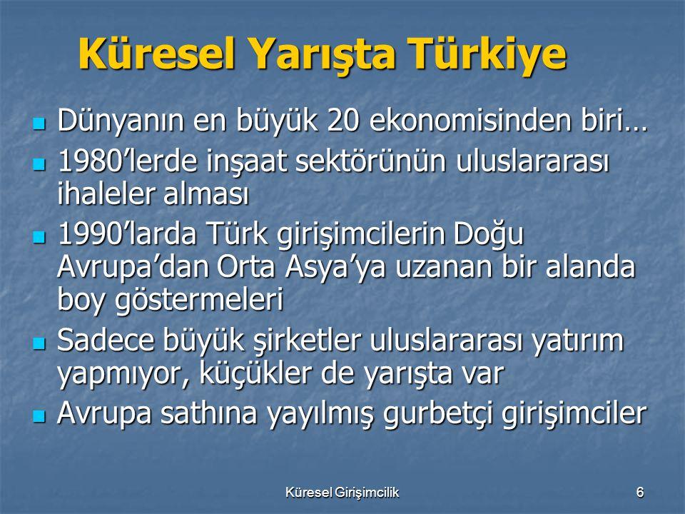 Küresel Girişimcilik6 Küresel Yarışta Türkiye Küresel Yarışta Türkiye Dünyanın en büyük 20 ekonomisinden biri… Dünyanın en büyük 20 ekonomisinden biri