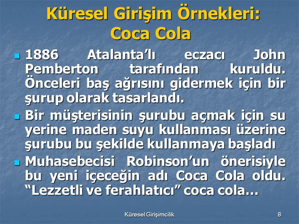 Küresel Girişimcilik8 Küresel Girişim Örnekleri: Coca Cola Küresel Girişim Örnekleri: Coca Cola 1886 Atalanta'lı eczacı John Pemberton tarafından kuru