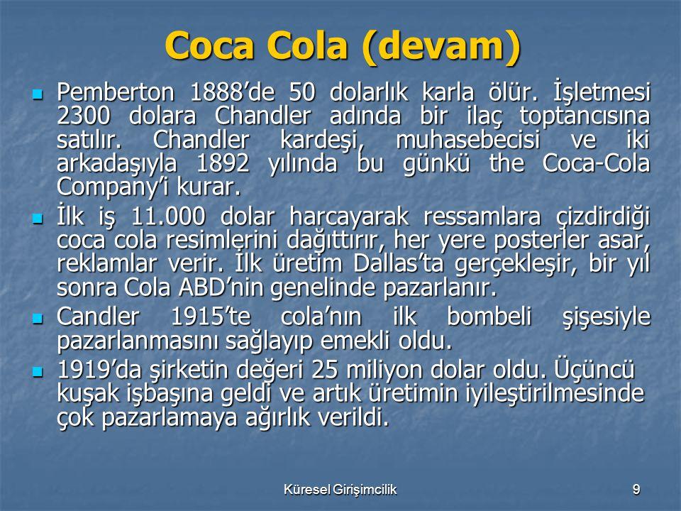Küresel Girişimcilik9 Coca Cola (devam) Pemberton 1888'de 50 dolarlık karla ölür. İşletmesi 2300 dolara Chandler adında bir ilaç toptancısına satılır.