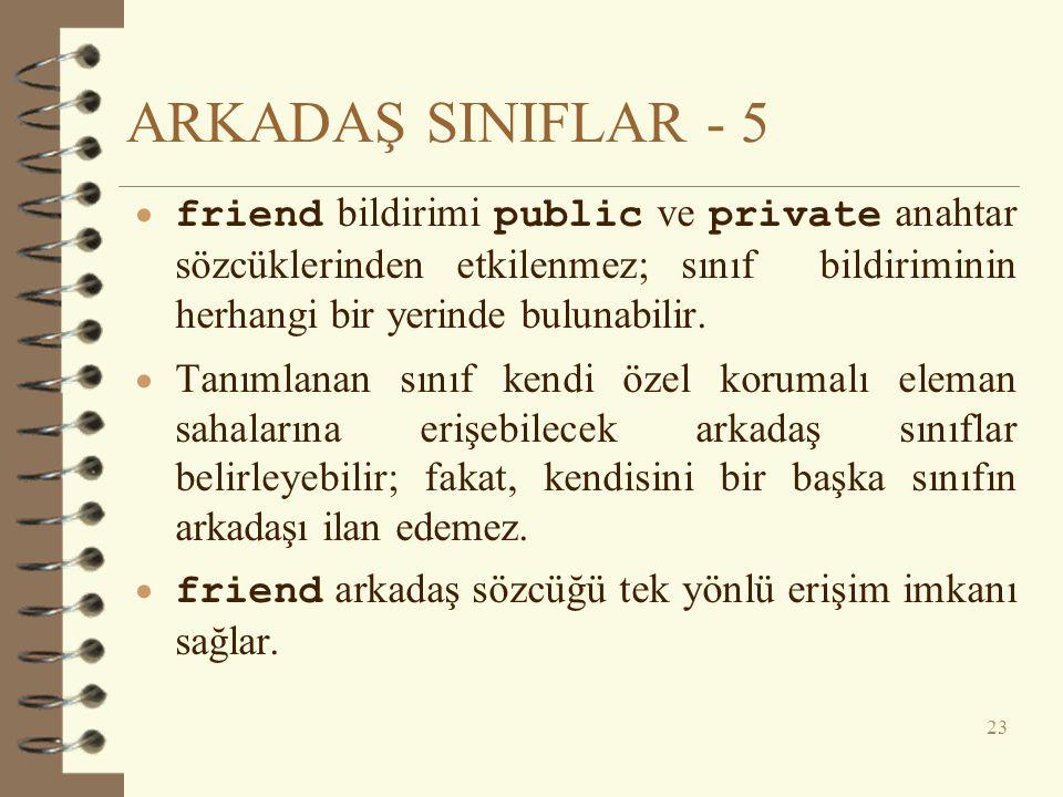 ARKADAŞ SINIFLAR - 5  friend bildirimi public ve private anahtar sözcüklerinden etkilenmez; sınıf bildiriminin herhangi bir yerinde bulunabilir.  Ta
