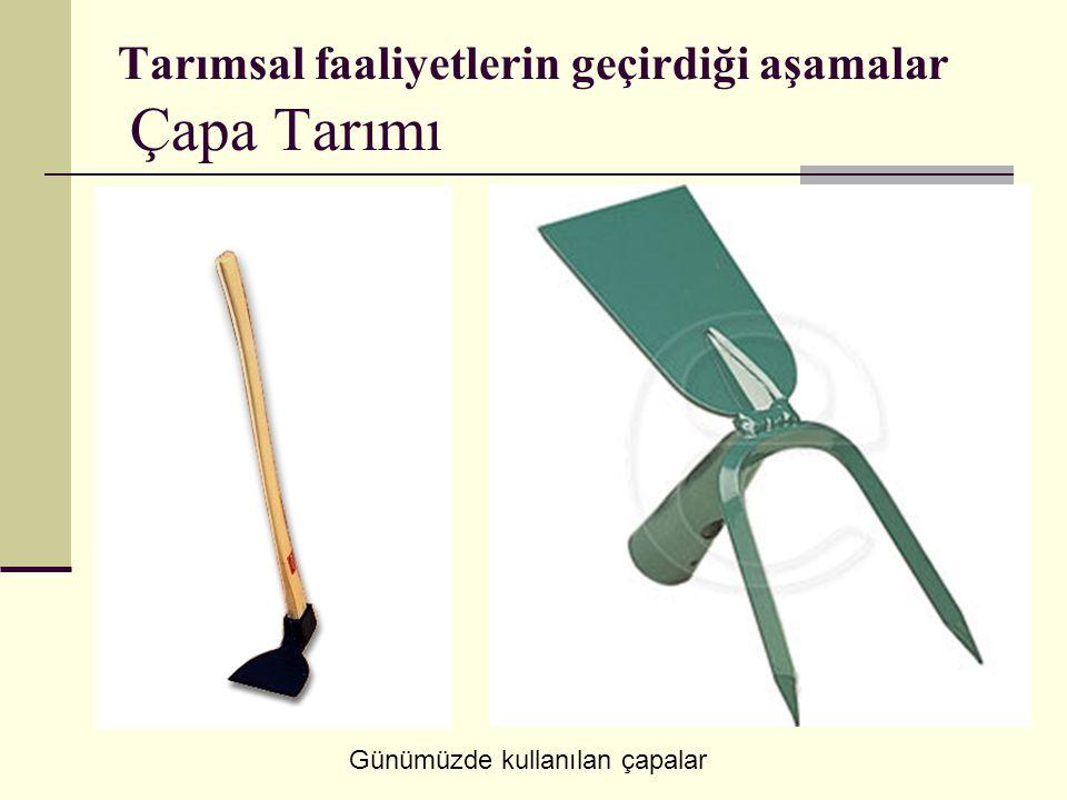 Tarımsal faaliyetlerin geçirdiği aşamalar Çapa Tarımı Günümüzde kullanılan çapalar