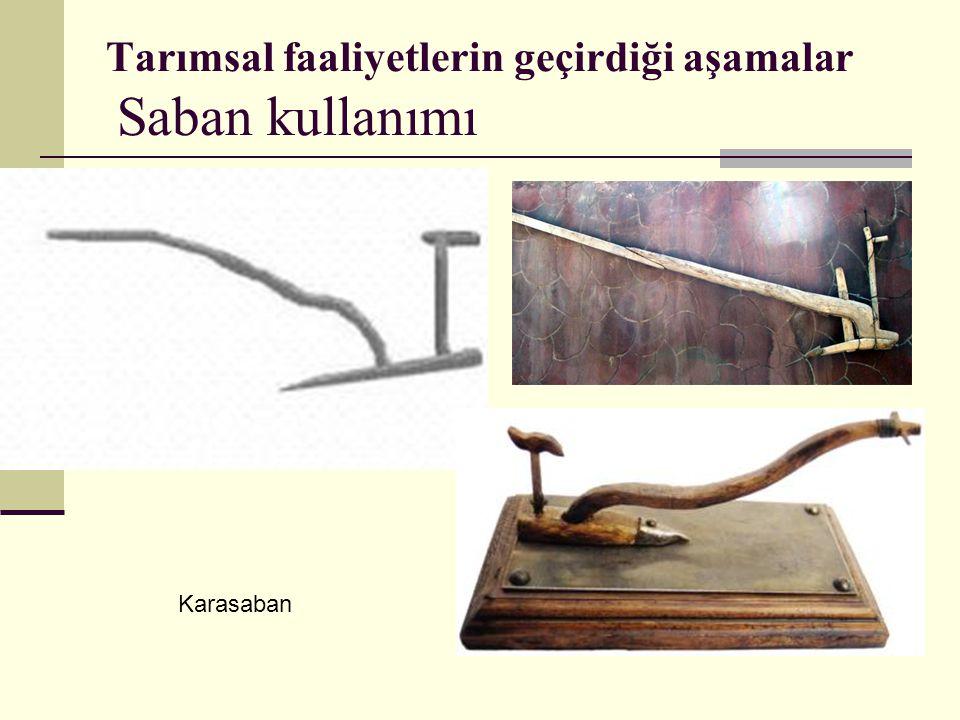 Tarımsal faaliyetlerin geçirdiği aşamalar Saban kullanımı Karasaban