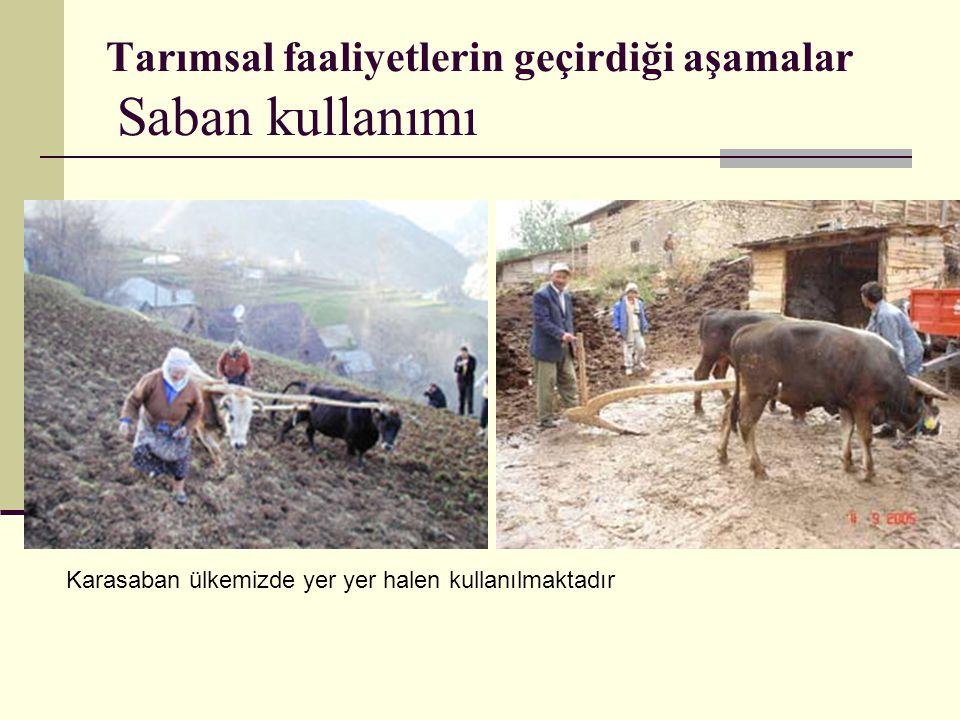 Tarımsal faaliyetlerin geçirdiği aşamalar Saban kullanımı Karasaban ülkemizde yer yer halen kullanılmaktadır
