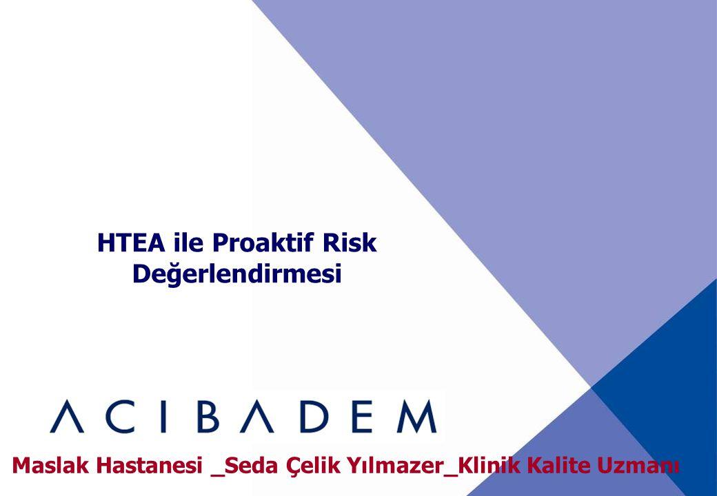 HTEA ile Proaktif Risk Değerlendirmesi Maslak Hastanesi _Seda Çelik Yılmazer_Klinik Kalite Uzmanı