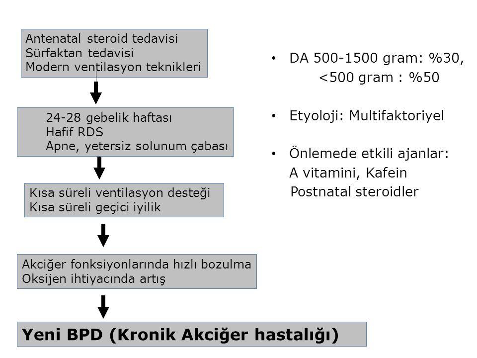 Yeni BPD (Kronik Akciğer hastalığı) Antenatal steroid tedavisi Sürfaktan tedavisi Modern ventilasyon teknikleri 24-28 gebelik haftası Hafif RDS Apne,