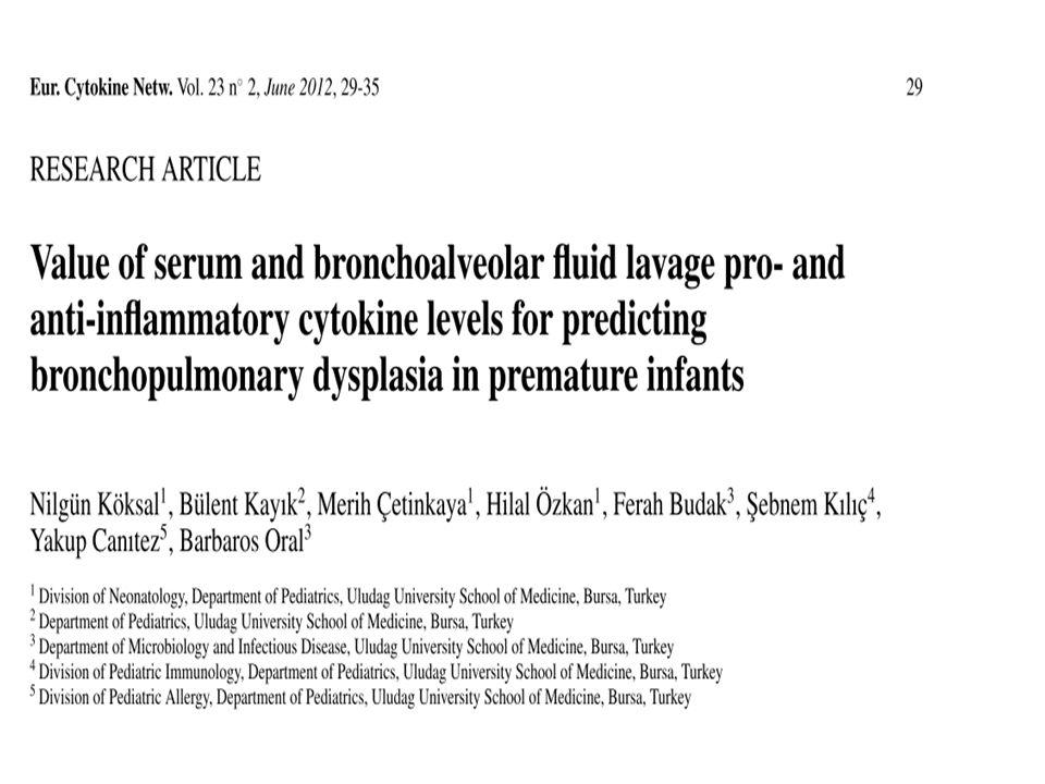 Sonuç olarak Doğumu takiben artmış kan nötrofil CD11b ekspresyonu BPD gelişebilecek preterm bebeklerin önceden belirlenmesinde yardımcı olabilir.