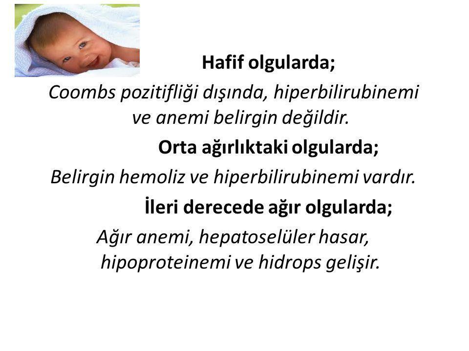 Hafif olgularda; Coombs pozitifliği dışında, hiperbilirubinemi ve anemi belirgin değildir. Orta ağırlıktaki olgularda; Belirgin hemoliz ve hiperbiliru