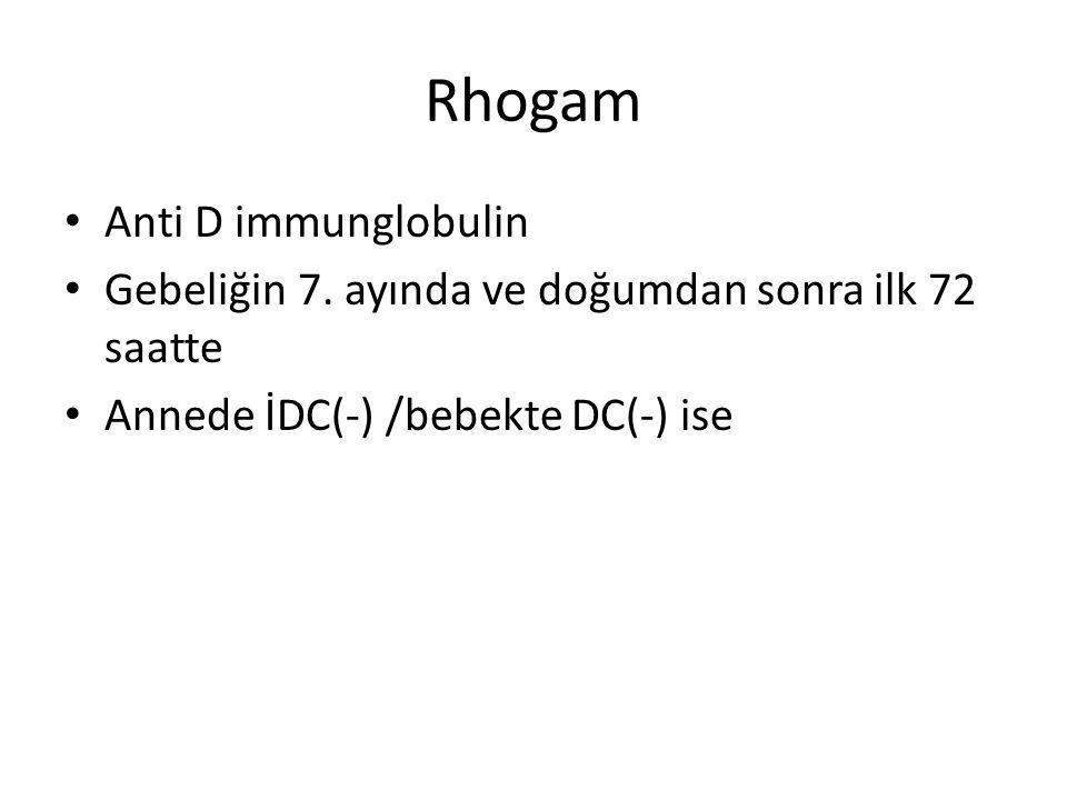 Rhogam Anti D immunglobulin Gebeliğin 7. ayında ve doğumdan sonra ilk 72 saatte Annede İDC(-) /bebekte DC(-) ise