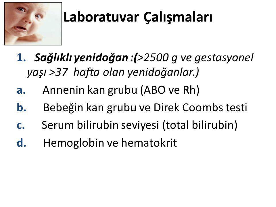 Laboratuvar Çalışmaları 1. Sağlıklı yenidoğan :(>2500 g ve gestasyonel yaşı >37 hafta olan yenidoğanlar.) a. Annenin kan grubu (ABO ve Rh) b. Bebeğin