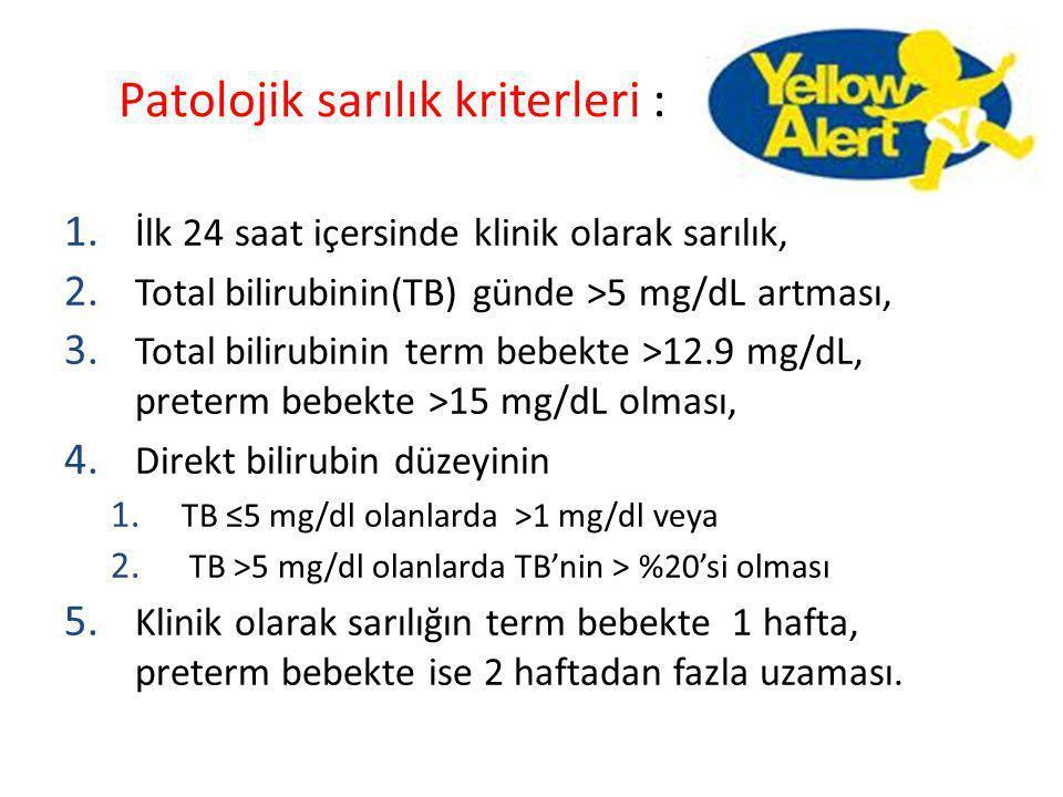 Patolojik sarılık kriterleri : 1. İlk 24 saat içersinde klinik olarak sarılık, 2. Total bilirubinin(TB) günde >5 mg/dL artması, 3. Total bilirubinin t