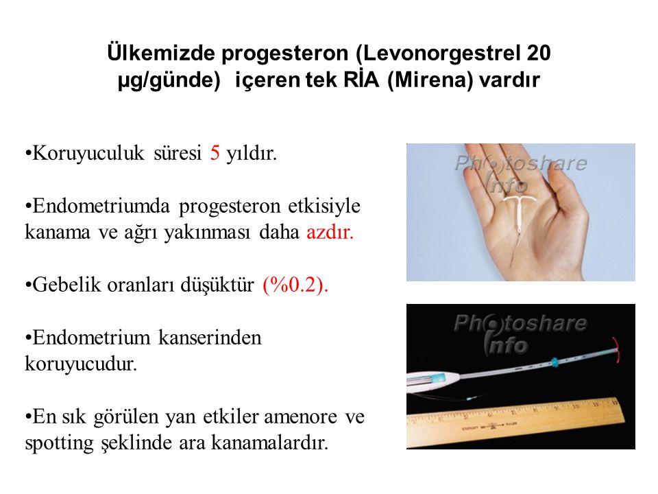 Ülkemizde progesteron (Levonorgestrel 20 µg/günde) içeren tek RİA (Mirena) vardır Koruyuculuk süresi 5 yıldır. Endometriumda progesteron etkisiyle kan