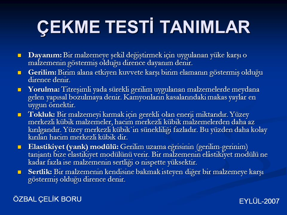 EYLÜL-2007 ÖZBAL ÇELİK BORU Uzama Yük 1.Elastik Bölge 2.