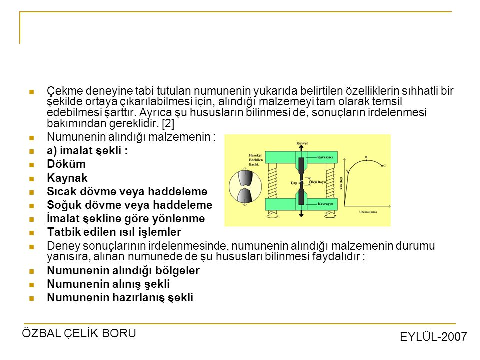 EYLÜL-2007 ÖZBAL ÇELİK BORU Çekme deneyine tabi tutulan numunenin yukarıda belirtilen özelliklerin sıhhatli bir şekilde ortaya çıkarılabilmesi için, alındığı malzemeyi tam olarak temsil edebilmesi şarttır.
