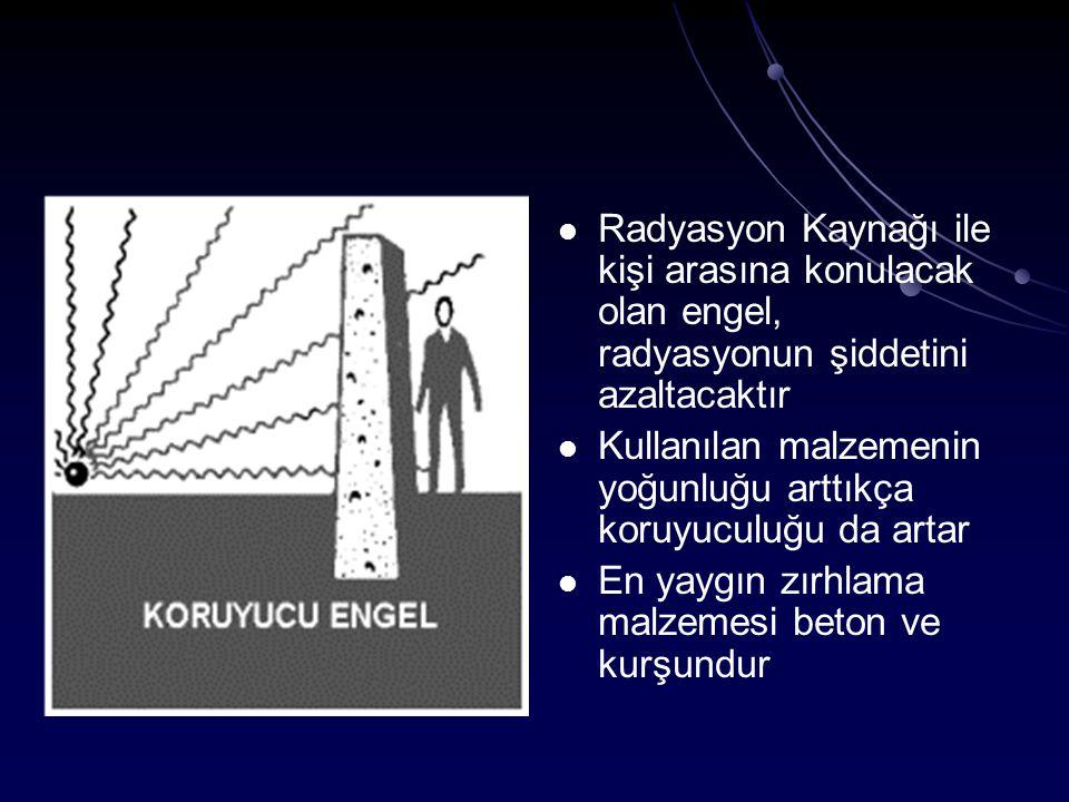 Radyasyon Kaynağı ile kişi arasına konulacak olan engel, radyasyonun şiddetini azaltacaktır Kullanılan malzemenin yoğunluğu arttıkça koruyuculuğu da a