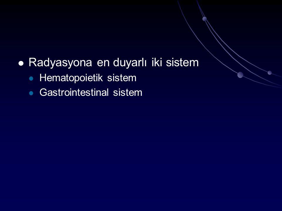 Radyasyona en duyarlı iki sistem Hematopoietik sistem Gastrointestinal sistem