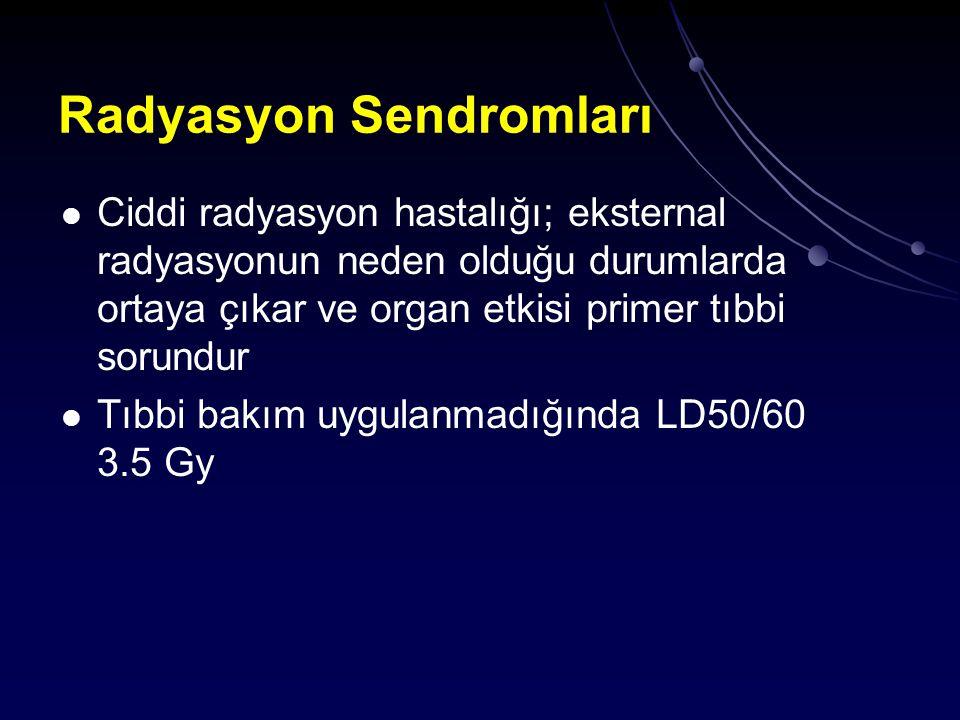 Radyasyon Sendromları Ciddi radyasyon hastalığı; eksternal radyasyonun neden olduğu durumlarda ortaya çıkar ve organ etkisi primer tıbbi sorundur Tıbb