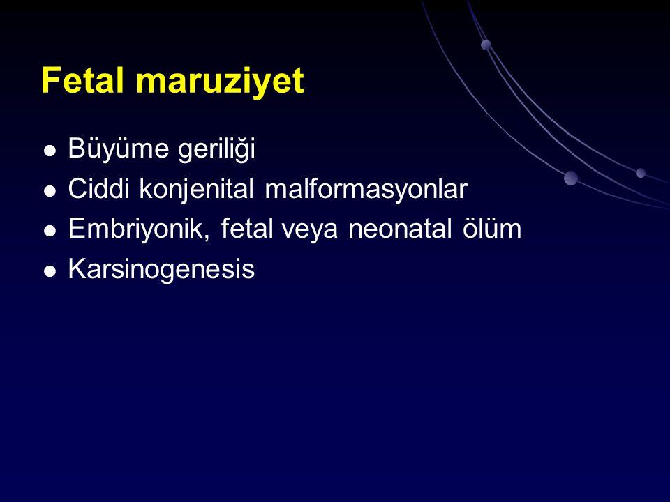 Fetal maruziyet Büyüme geriliği Ciddi konjenital malformasyonlar Embriyonik, fetal veya neonatal ölüm Karsinogenesis