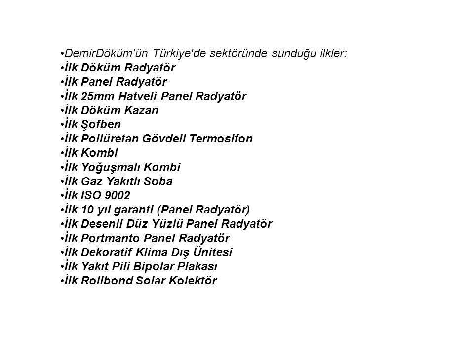DemirDöküm'ün Türkiye'de sektöründe sunduğu ilkler: İlk Döküm Radyatör İlk Panel Radyatör İlk 25mm Hatveli Panel Radyatör İlk Döküm Kazan İlk Şofben İ