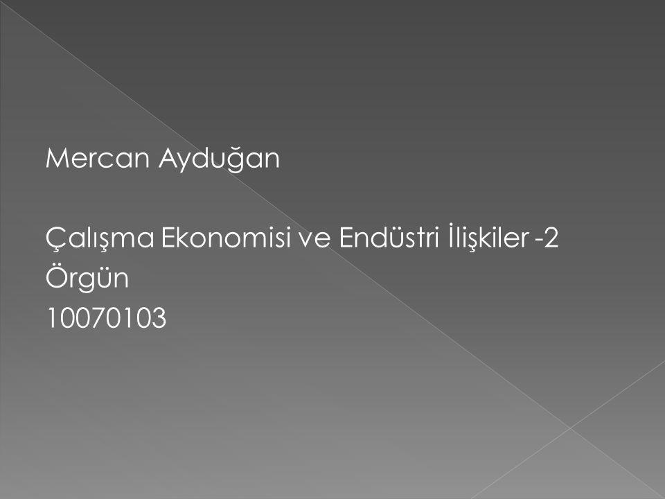 Mercan Ayduğan Çalışma Ekonomisi ve Endüstri İlişkiler -2 Örgün 10070103