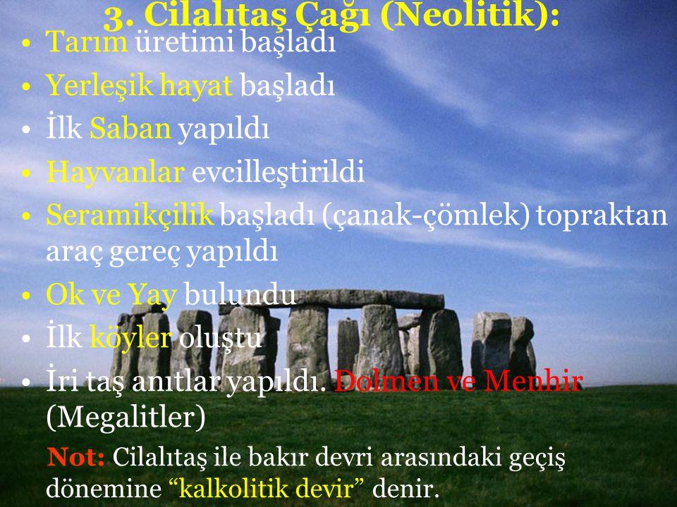 3. Cilalıtaş Çağı (Neolitik): Tarım üretimi başladı Yerleşik hayat başladı İlk Saban yapıldı Hayvanlar evcilleştirildi Seramikçilik başladı (çanak-çöm