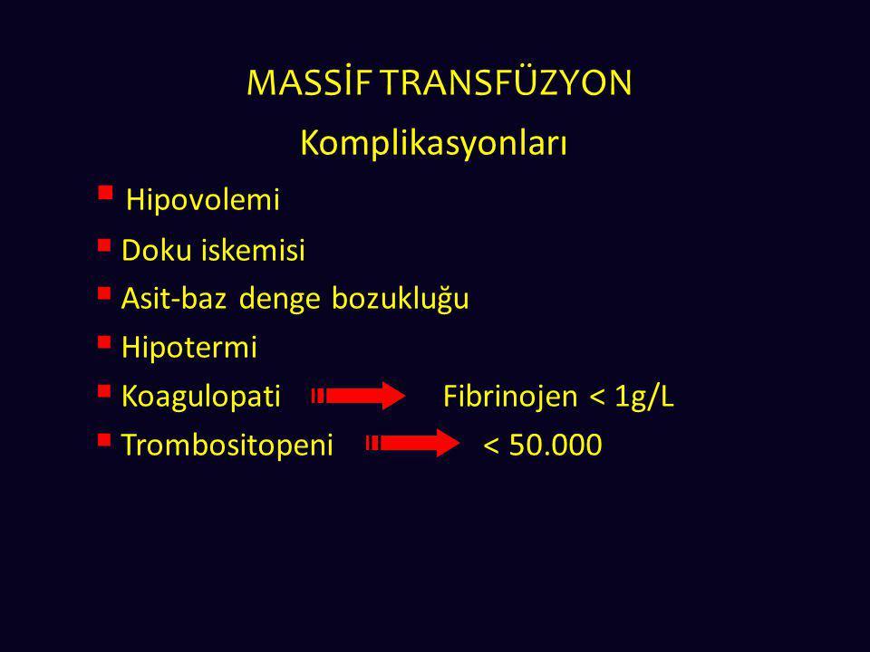 MASSİF TRANSFÜZYON Komplikasyonları  Hipovolemi  Doku iskemisi  Asit-baz denge bozukluğu  Hipotermi  KoagulopatiFibrinojen < 1g/L  Trombositopen